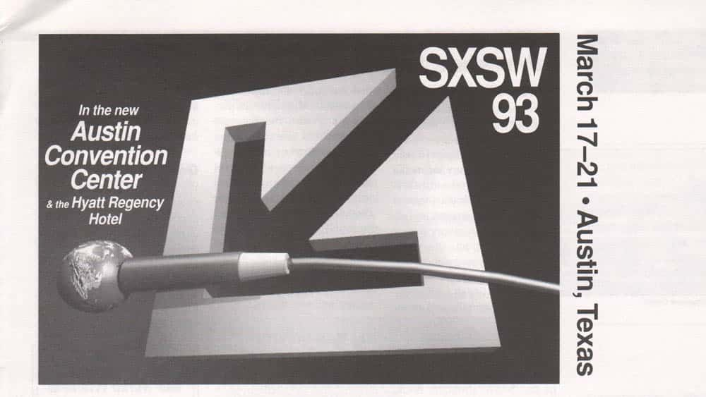 Header for SXSW 1993 announcement and schedule