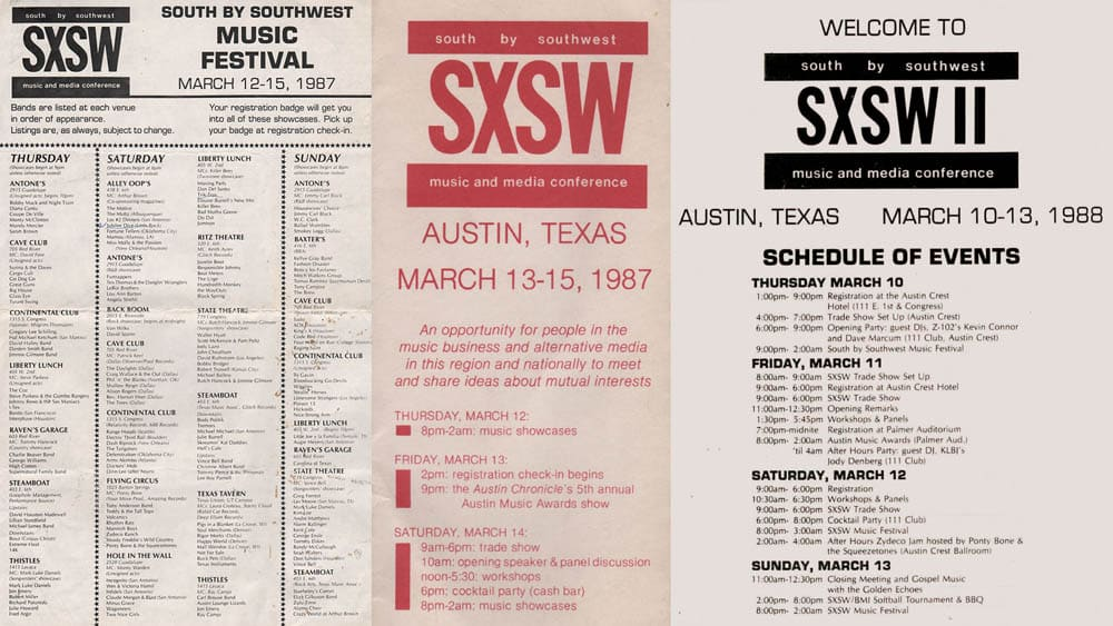 Left to Right- South By Southwest Music Showcase Schedule from 1987, Brochure from the first SXSW Music Festival, SXSW 1988 Schedule of Events